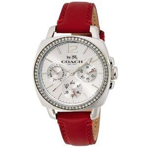 Coach Women's Boyfriend Red Leather Strap Watch